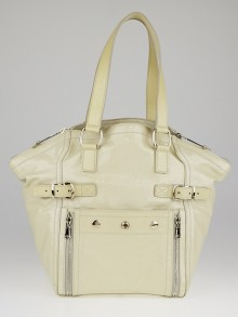 Yves Saint Laurent Dark White Embossed Patent Leather Medium Downtown Tote Bag