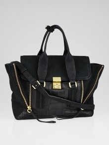 3.1 Phillip Lim Black Nubuck and Embossed Leather Pashli Medium Satchel Bag