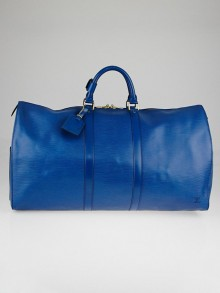 Louis Vuitton Toledo Blue Epi Leather Keepall 55 Bag