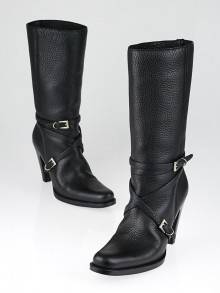 Prada Black Leather Calf-High Buckle Boots Size 7/37.5