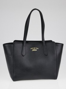 Gucci Black Pebbled Leather Small Swing Tote Bag