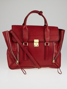 3.1 Phillip Lim Red Shark Embossed Leather Large Pashli Satchel Bag