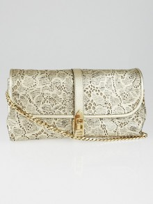 Burberry Platinum Laser-Cut Lace Leather Theia Clutch Bag