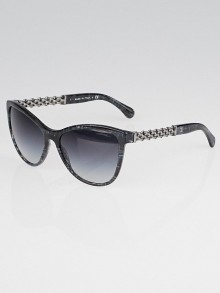 Chanel Black/Blue Plaid Acetate Frame Chain Sunglasses-5326