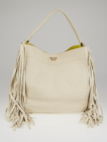 Prada Talco Cervo Leather Fringe Hobo Bag BR4975