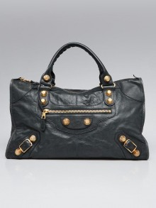 Balenciaga Anthracite Lambskin Leather Giant 21 Gold Work Bag