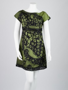 Prada Militare Faille Leopardo Silk Dress Size 6/40