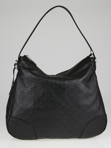 Gucci Black Guccissima Leather Bree Original Hobo Bag