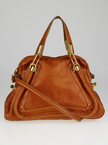 Chloe Brown Pebbled Leather Medium Paraty Bag
