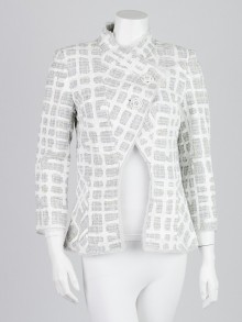 Chanel Grey/White Tweed Painted Grid Jacket Size 8/40