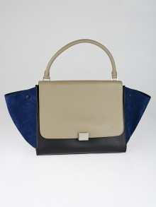 Celine Taupe/Black Leather Blue Suede Large Trapeze Bag