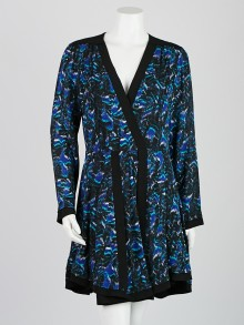 Proenza Schouler Blue/Green/Black Silk Printed Long Sleeve Dress Size 8