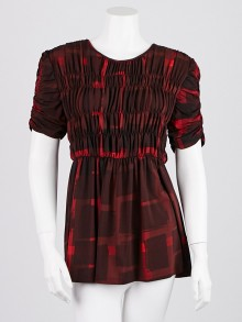Burberry London Red Claret Polyester Blend Tunic Blouse Size XL