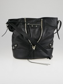 Balenciaga Black Calfskin Leather Papier Drop Bucket Bag