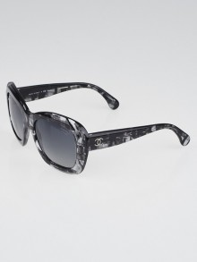 Chanel Black Plaid Acetate Square Frame Sunglasses-5324