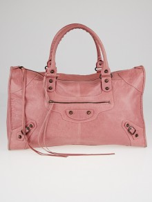 Balenciaga Rose Bruyere  Lambskin Leather Motorcycle Work Bag