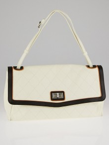 Chanel Light Beige/Brown Quilted Lambskin Leather Maxi Mademoiselle Flap Bag