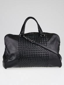 Bottega Veneta Black Intrecciato Woven Calf Leather Top Handle Bag