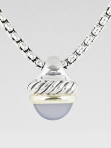 David Yurman Sterling Silver and Chalcedony Stone Acorn Pendant Necklace