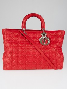Christian Dior Red Cannage Quilted Lambskin Soft Lady Dior Large Tote Bag
