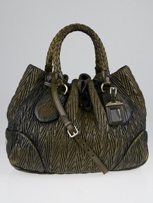 Prada Dark Green Ruched Nappa Leather Top Handle Shopping Tote Bag