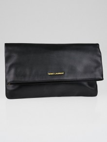 Yves Saint Laurent Black Calfskin Leather Letters Foldover Clutch Bag