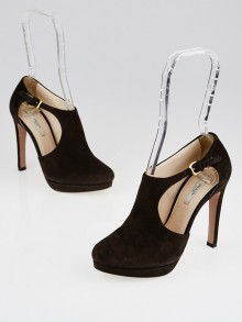 Prada Brown Suede Cut-Out Ankle Strap Booties Size 5/35.5