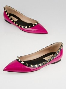Valentino Hot Pink/Black Patent Leather Rockstud Flats Size 5.5/36