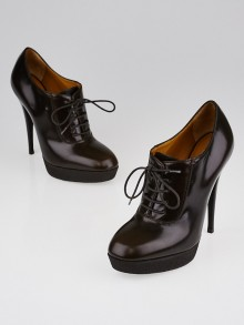 Yves Saint Laurent Brown Leather Platform Lace-Up Booties Size 7/37.5