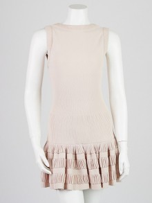 Alaïa Pink Viscose/Silk Sleeveless Ruffle Dress Size 4/34