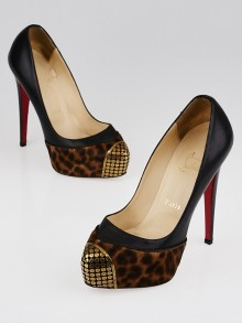 Christian Louboutin Black Leather and Leopard Pony Hair Steel-Toe Platform Maggie 140 Pumps Size 6.5/37
