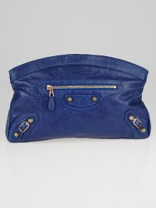 Balenciaga Bleu Cobalt Lambskin Leather Giant 12 Rose Gold Premier Clutch Bag