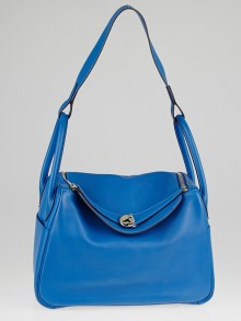 Hermes 30cm Mykonos Blue Swift Leather Palladium Plated Lindy Bag