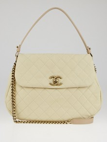 Chanel Light Beige Quilted Matte Caviar Leather CC Messenger Bag