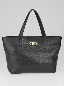 Salvatore Ferragamo Black Pebbled Leather Small Bice Shopping Tote Bag