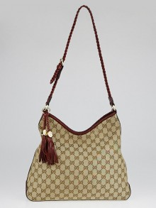 Gucci Beige/Red GG Canvas Marrakech Hobo Bag