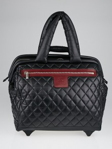 Chanel Black Quilted Lambskin Leather Coco Cocoon Trolley Rolling Case