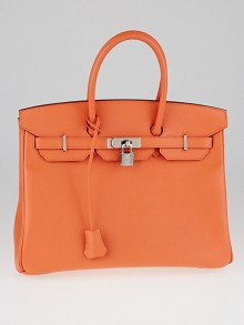 Hermes 35cm Mangue Epsom Leather Palladium Plated Birkin Bag