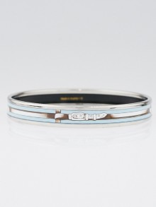 Hermes Blue Buckle Print Enamel Palladium Caleche Narrow Bangle Bracelet Size 65