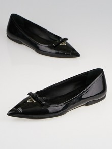 Prada Black Patent Leather Pointed Toe Flats Size 4.5/35