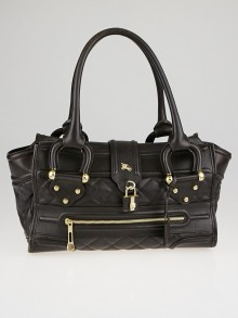 Burberry Dark Chocolate Quilted Leather Large Manor Tote Bag