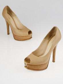 Fendi Beige Leather Fendista Peep Toe Platform Pumps Size 6.5/37