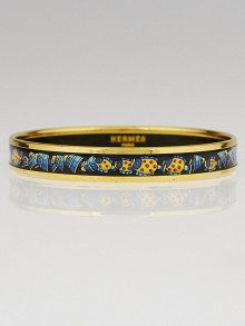 Hermes Navy Tropical Fish Printed Enamel Gold Plated Narrow Bangle Bracelet