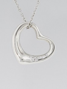 Tiffany & Co. Platinum and Diamond Elsa Peretti Open Heart Pendant