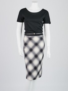 Gucci Black/White Wool Plaid Short Sleeve Belted Dress Size M