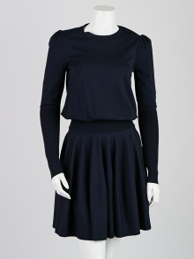Alexander McQueen Navy Blue Wool Blend Long Sleeve Dress Size M