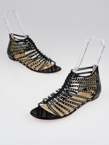 Christian Louboutin Black Leather Studded Millaclou Flat Sandals Size 9.5/40