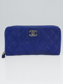 Chanel Blue Quilted Iridescent Calfskin Leather Gusset Zip Wallet