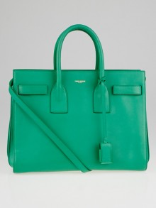 Yves Saint Laurent Green Smooth Calfskin Leather Small Sac de Jour Bag