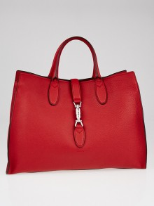 Gucci Hibiscus Red Pebbled Leather Soft Jackie Large Top Handle Bag